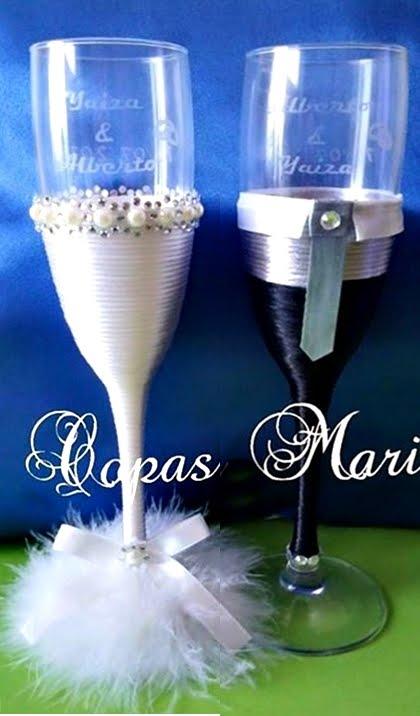 """Copas boda grabadas y """"vestidas"""""""