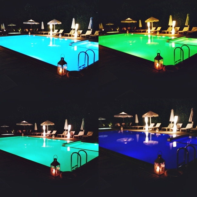 Jelena Zivanovic Instagram @lelazivanovic.Glam fab week.Pool of Corfu Mare hotel at night.Bazen hotela Corfu Mare nocu.