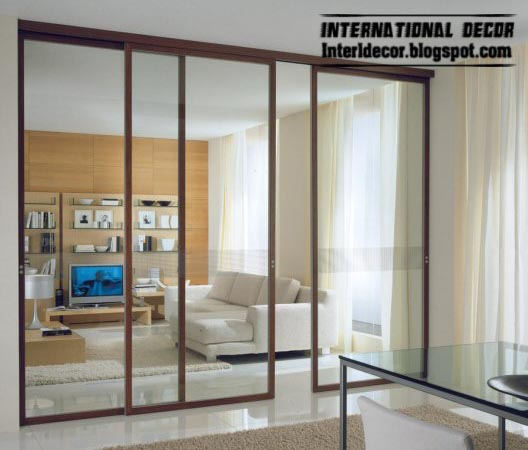 Modern sliding doors designs wide for office room interior for Glazed sliding doors