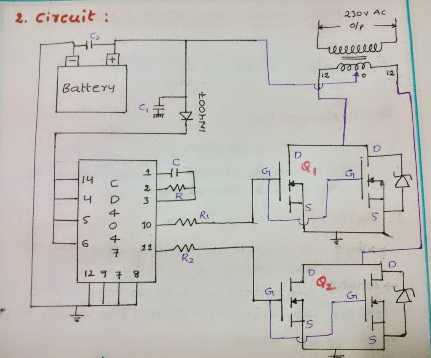 Simple Poor Mans Inverter 100 150 Watts Fet Voltmeter Circuit Schematic Diagram