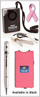 Women need a college self defense package with a mace alarm and pepper spray pen, that also writes, plus an 8 million volt stun gun.