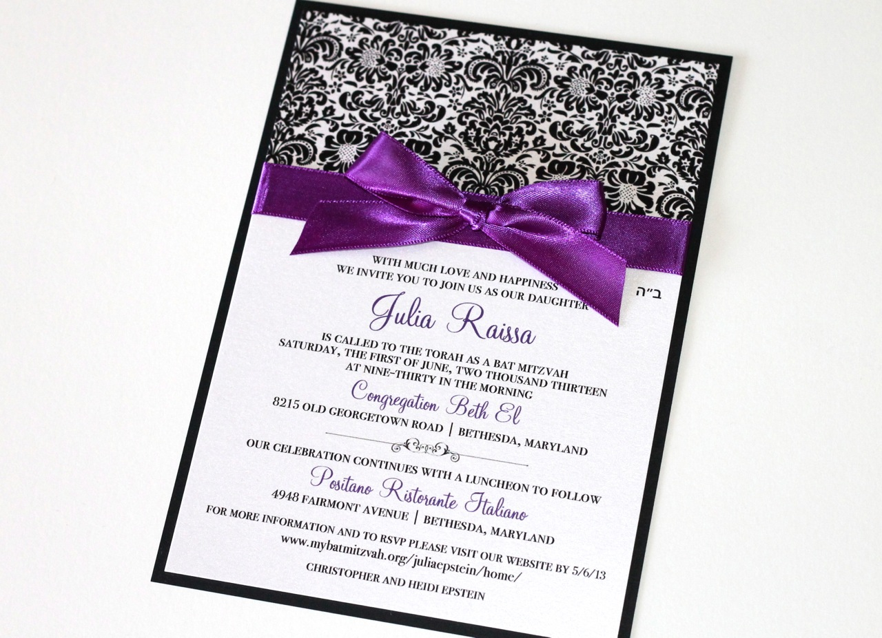 Embellished Paperie: Black, White and Purple Damask Bat Mitzvah ...