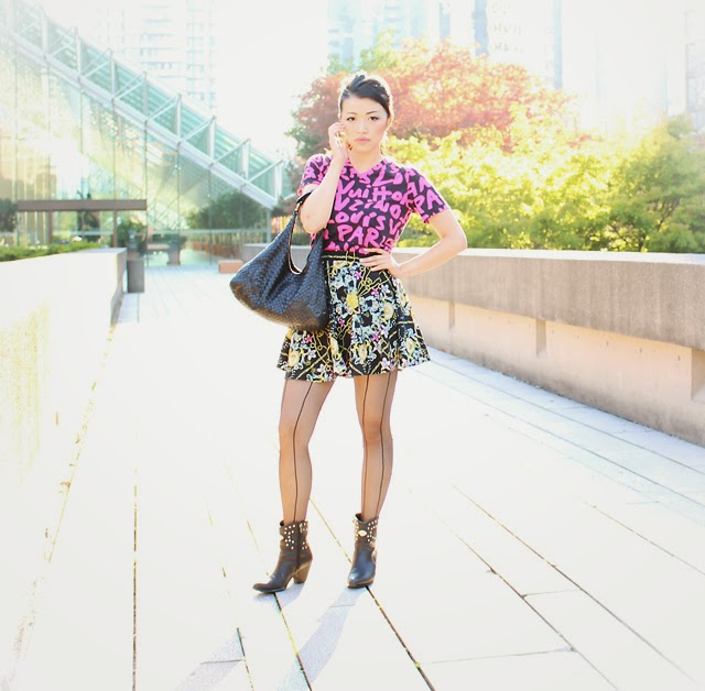 Louis vuitton graffiti shirt, colourful summer style, vancouver fashion blogger