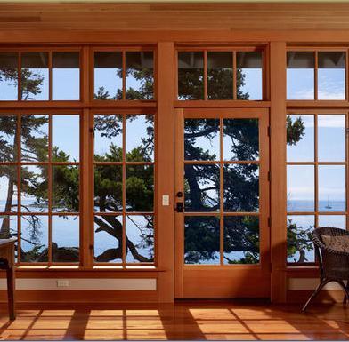 Fotos y dise os de ventanas ventanas de aluminio color madera for Ventanas de aluminio con marco de madera
