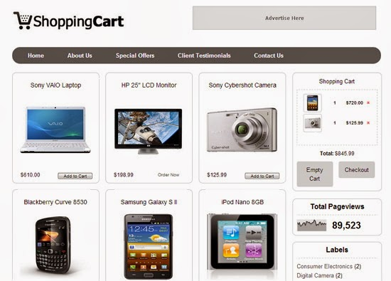 templates blogspot Shopping Cart