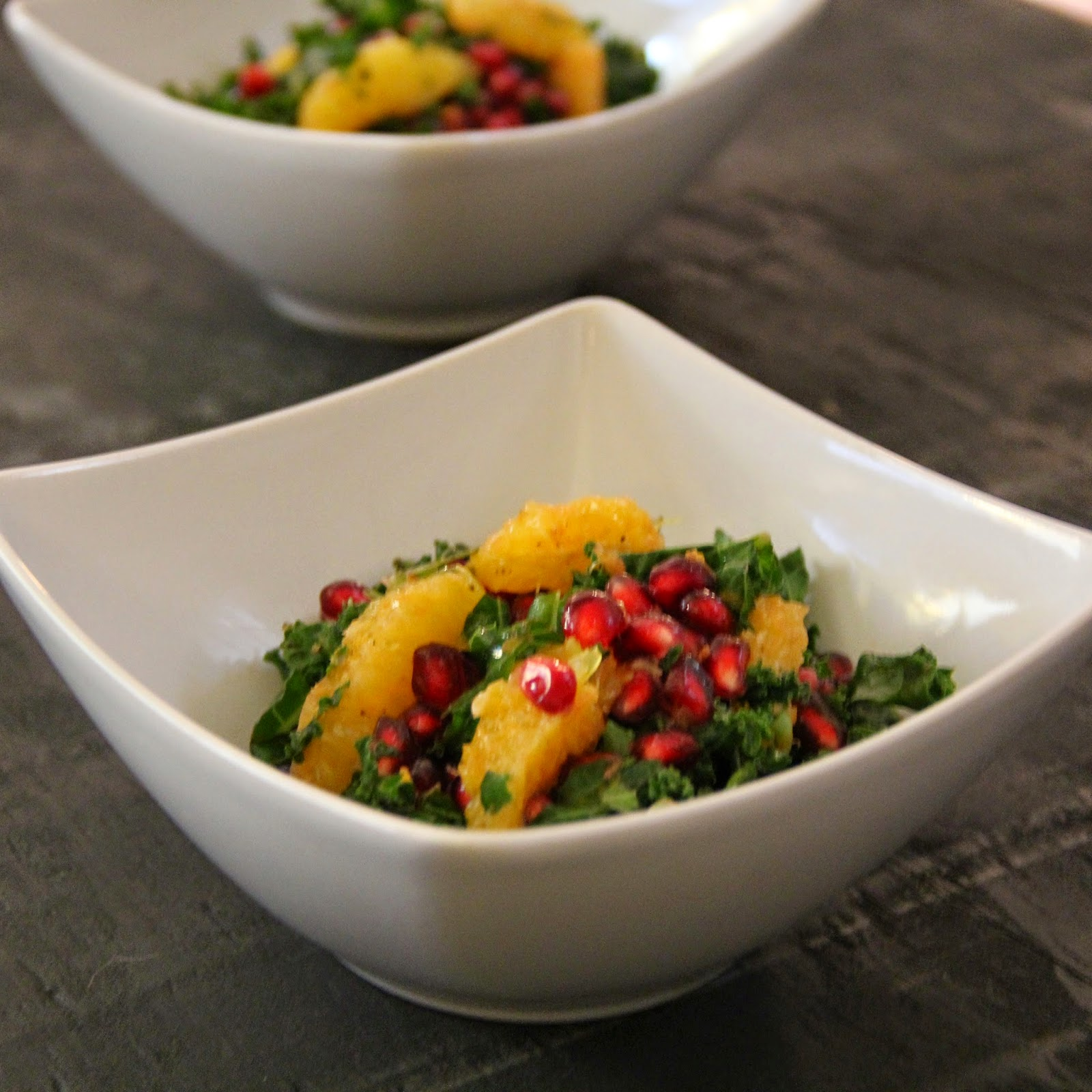 mustard bruised kale salad with orange kale and quinoa salad warm kale ...