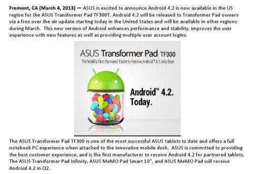 Il tablet da 10 pollici Asus Transformer Pad tf300t negli stati uniti ha iniziato a ricevere gli aggiornamenti; presto anche in Italia