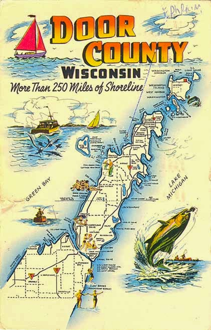 Postcard Gems: Map: Door County, Wisconsin on