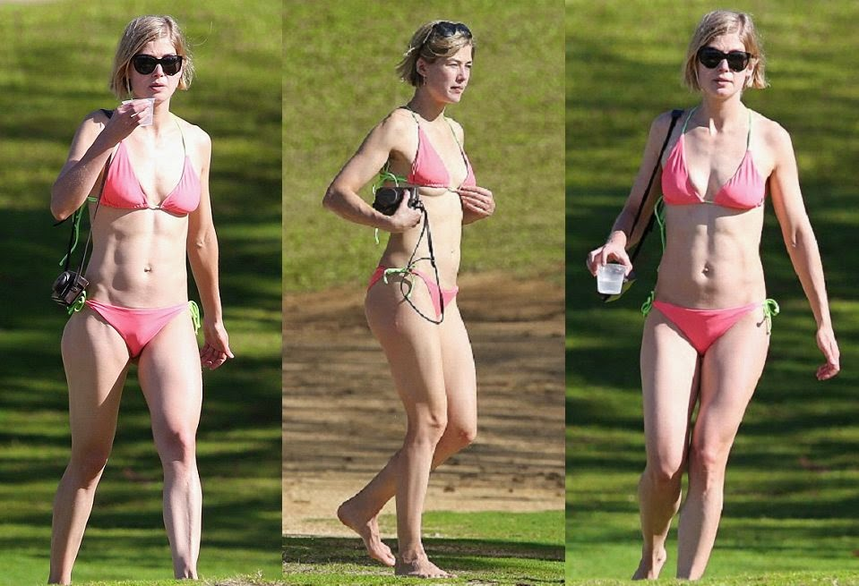 Rosamund Pike wears a Pink Bikini as she learns a surfing in Hawaii