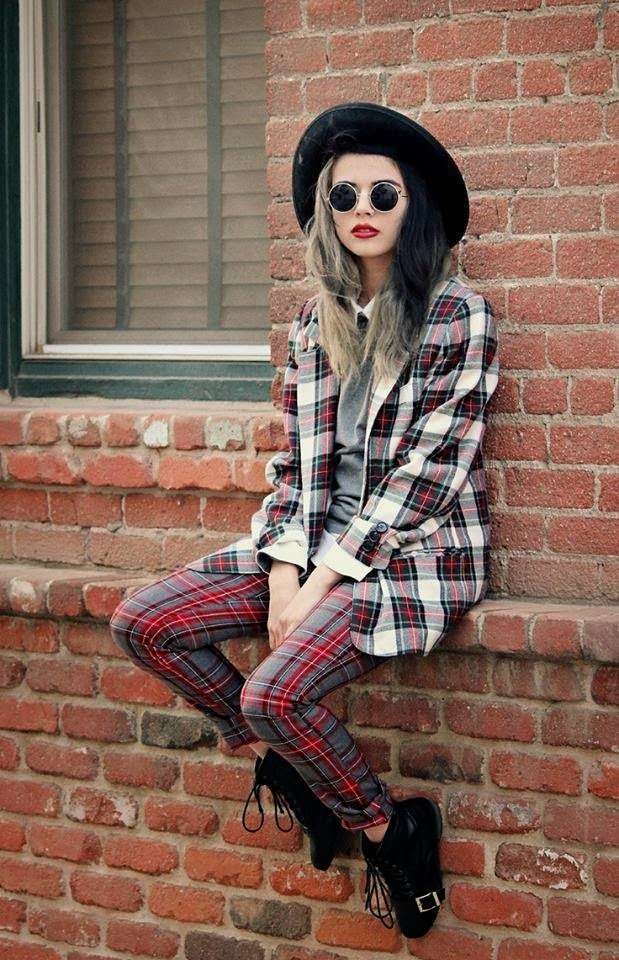 Square Striped Shirt with Red-Grey Square Striped Trousers, Black Boots and Hat, Round Glasses