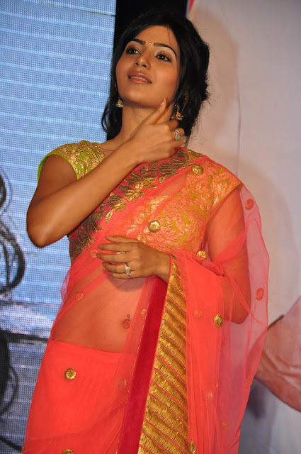 Actress Samantha Hot Saree Below Navel Show Stills at jabardasth movie audio function