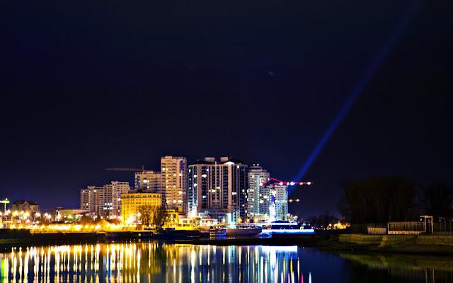 Краснодар, ночь, закат, красоты, достопримечательность, небоскребы, отражения, вода, выдержка, Sergio Evsyukov, Евсюков, фотограф, город, City, Russia