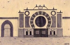 la plaza de toros con sus puertas antiguas ya desparecidas