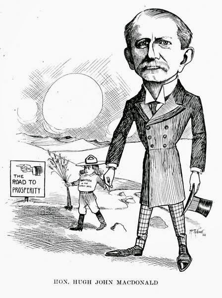 Political caricature of Sir Hugh John Macdonald circa the early 1900s, courtesy of the Manitoa Historical Society website