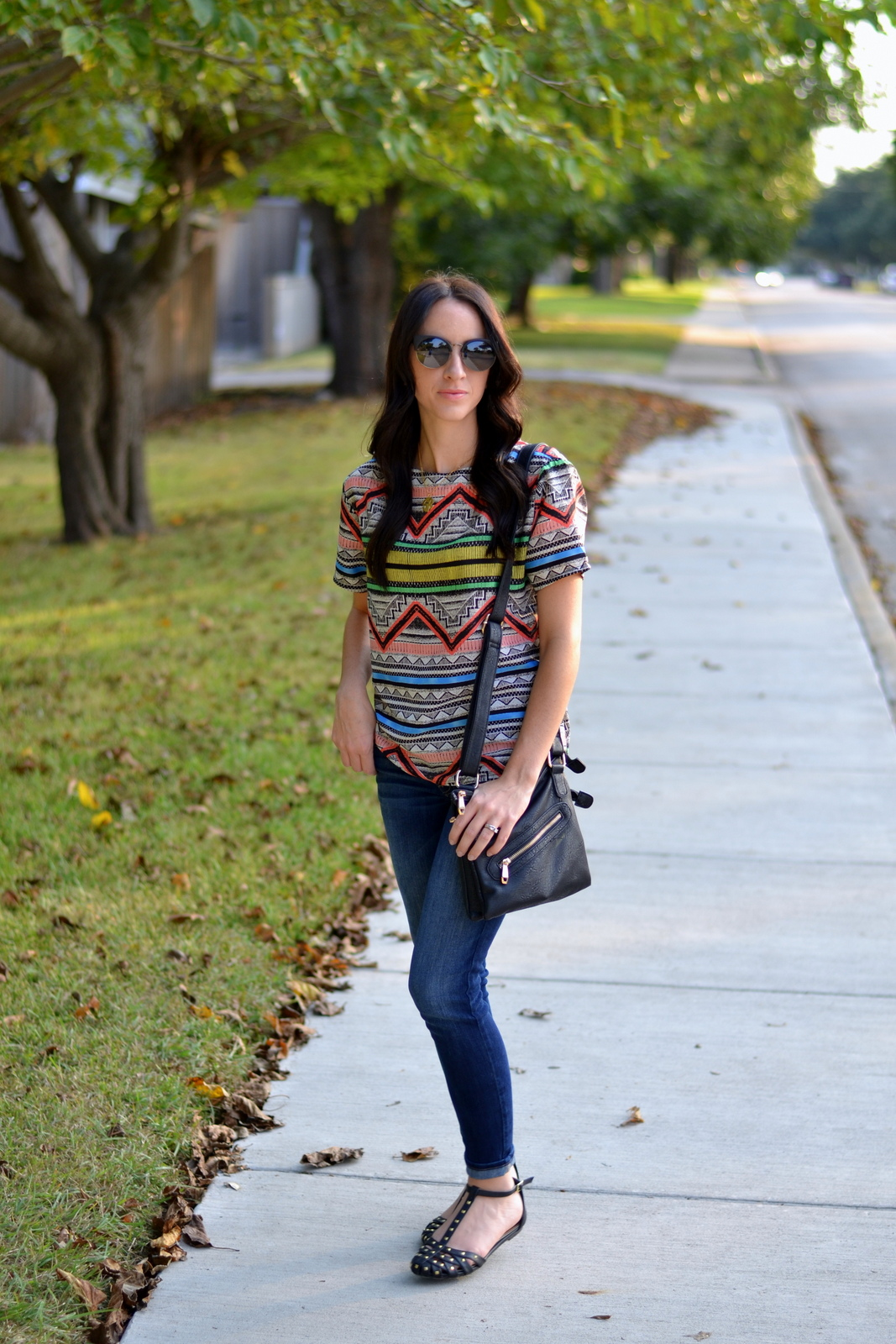 Aztec Top, Black Studded Flats, Skinny Jeans, Black Purse