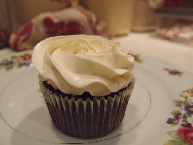 Ganache Filled Chocolate Cupcakes with Swiss Meringue Buttercream