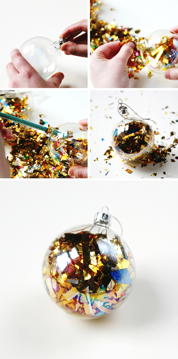 Diy sparkle filled christmas baubles gathering beauty diy confetti foil filled christmas baubles solutioingenieria Gallery