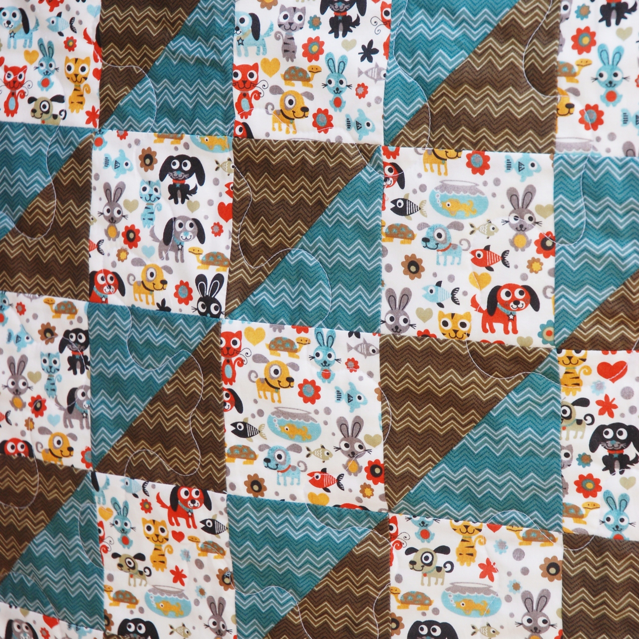Charley dee me funky bunny baby boy quilt for Quilt material for boys