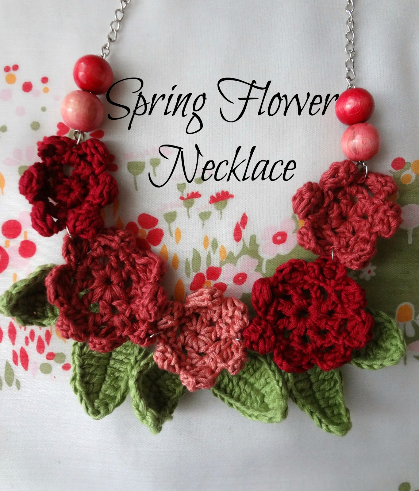 Crochet Necklace : Little Treasures: Spring Flower Necklace 2- a crochet pattern