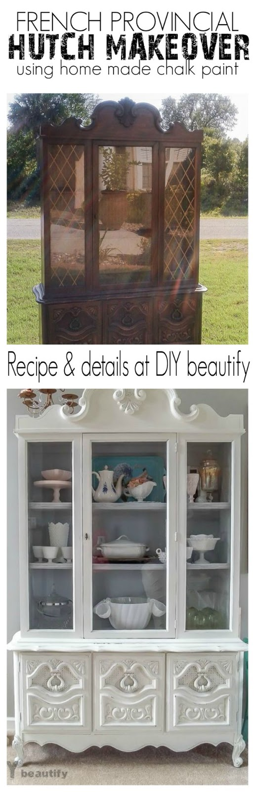 A damaged hutch gets repaired and brought to life with shabby white paint. Details and home made chalk paint recipe at DIY beautify!