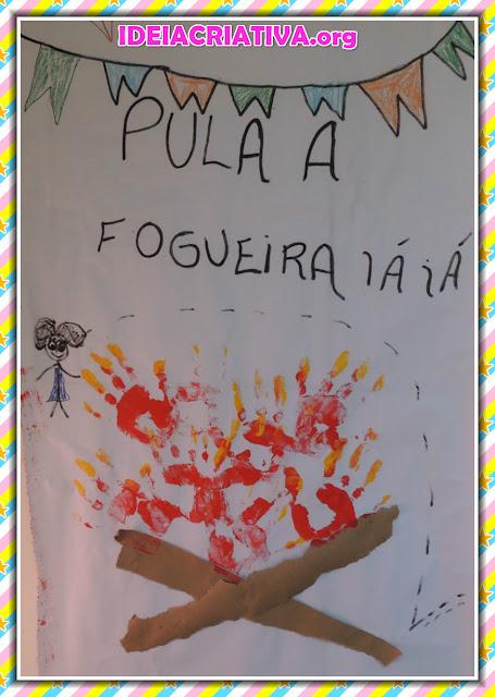Mural Festas Juninas com Fogueira de Carimbo de Mãos e Estratégias de Ensino