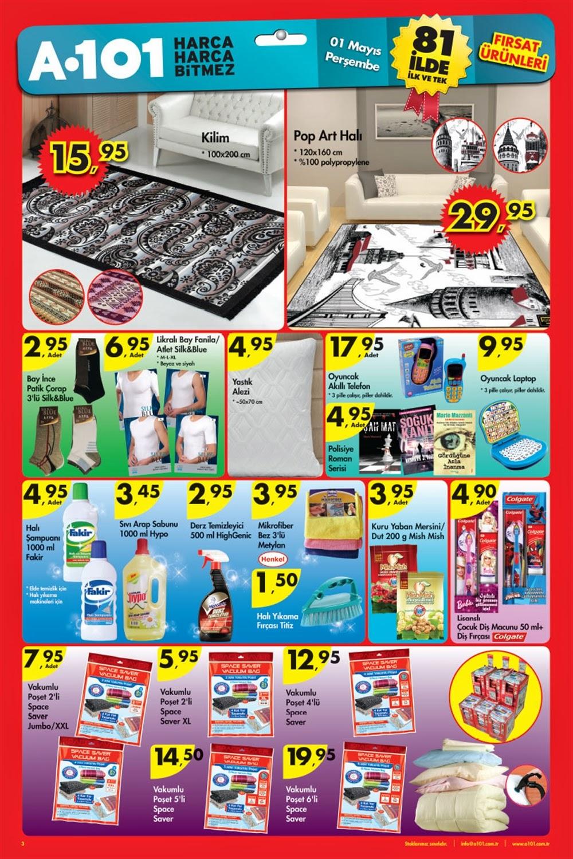 A101 1 Mayıs 2014 tarihlerindeki Güncel Broşür,İndirim Katalog ,Aktüel Ürünler,A101 aktüel ürünleri mayıs kataloğu sizlerle. A101 1 Mayıs 2014 aktüel ürünlerine ait bu konumuzda katalogları bulabilirsiniz Bu katalog ile A101 markete 1 Mayıs Perşembe 2014 tarihinde gelecek ürünleri görebilir ve fiyatları hakkında bilgi sahibi olabilirsiniz,A101 1 Mayıs Perşembe 2014 Broşür Ürünler Bebek Ürünleri A101 Güncel Broşür, Katalog ve İndirimler
