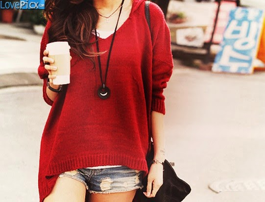 Girl Short Jeans Fashion Red Dress Coffee