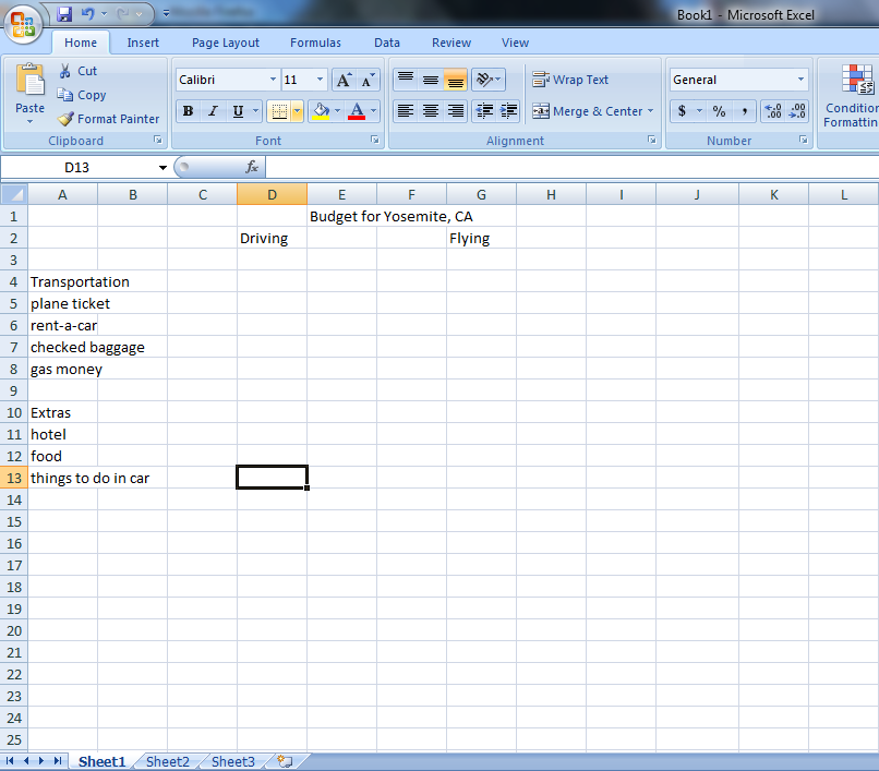Tutorial 2: Excel Budget: Vacation Budget on Excel