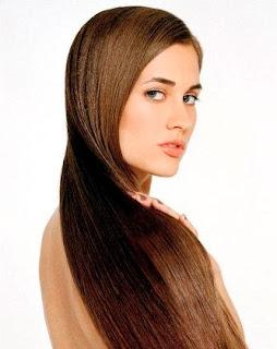 Gambar rambut panjang lurus, sehat dan berkilau
