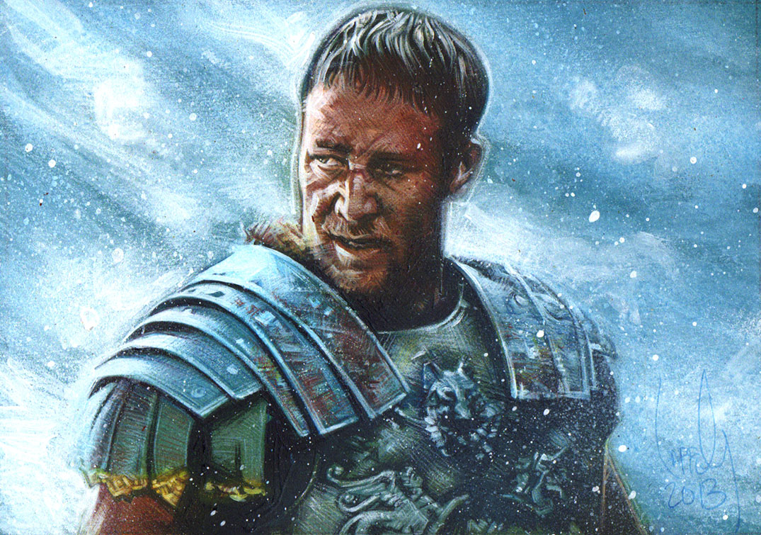 Russell Crowe from Gladiator, Artwork Copyright © 2014 Jeff Lafferty