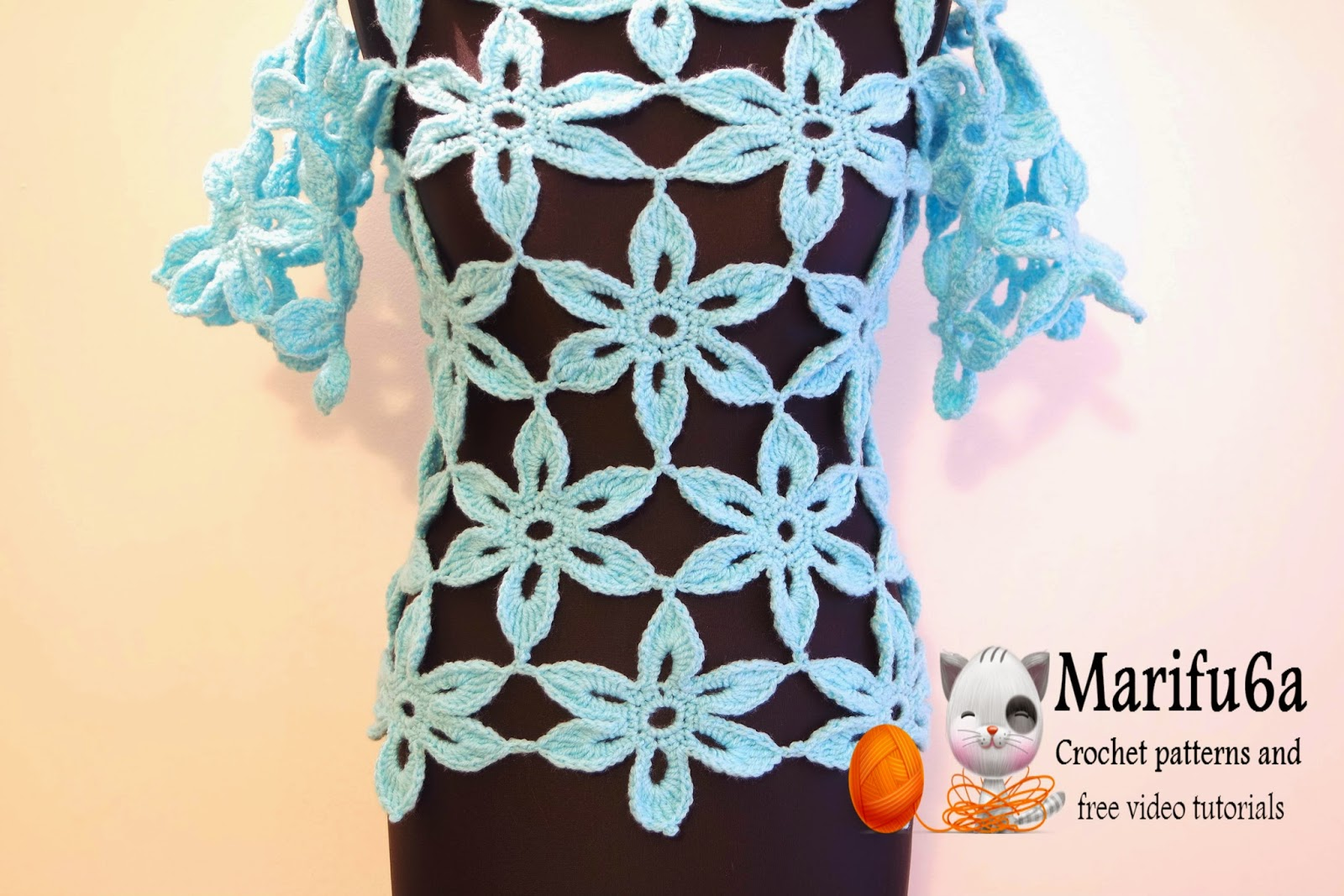 Crochet Stitches Sp : Free crochet patterns and video tutorials: How to crochet flower tunic ...