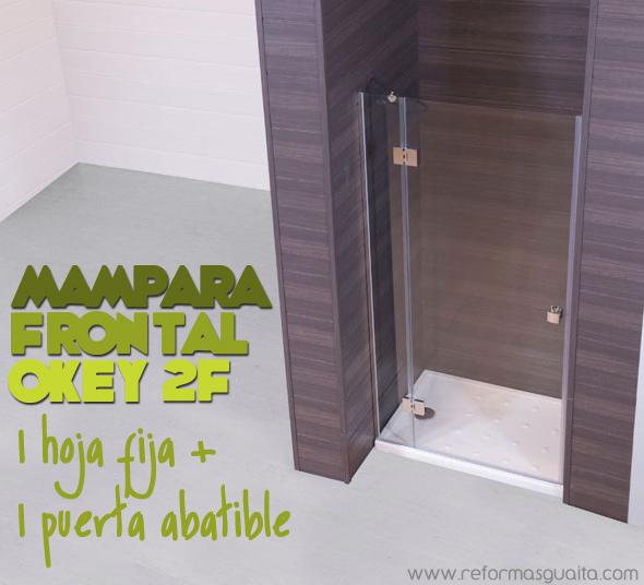 Puerta Baño Hacia Afuera:Mampara OKEY 2F, fijo + puerta abatible ~ Reformas Guaita