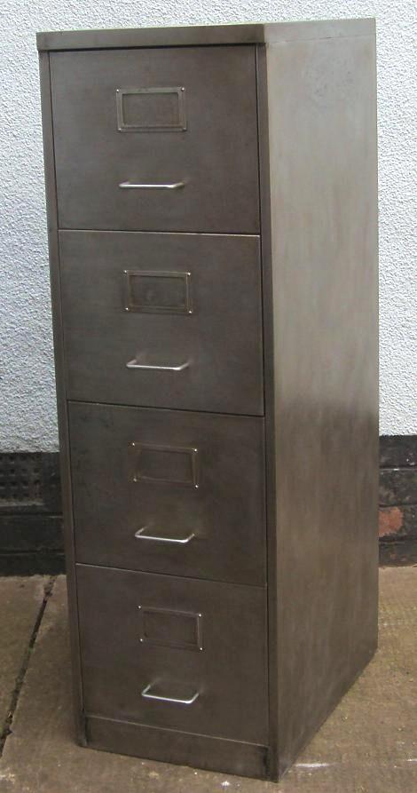 Vintage Retro 4 Drawer Filing Cabinet Polished Metal   New Photos