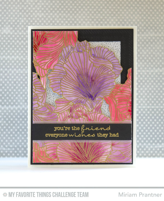 You're the Friend Card by Miriam Pranter featuring the Lisa Johnson Designs Delicate Pretty Poppies stamp set and Etched Flower Background stamp #mftstamps