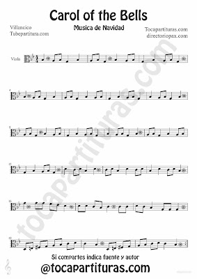 Tubescore Carols of the Bells sheet music for Viola traditional Christmas Carol Music Score