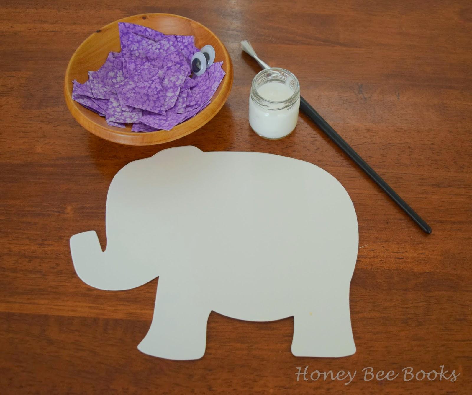 An invitation to create a purple elephant collage