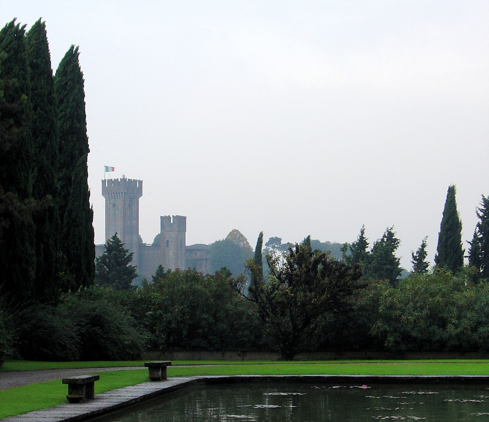 The Scaligero Castle aka The Fortress looms over the Parco Sigurtà and Borghetto beyond the ridge.