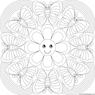 Butterfly and rainbow mandala to color