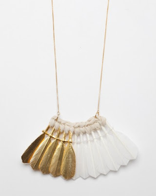 mirit weinstock, feather necklace