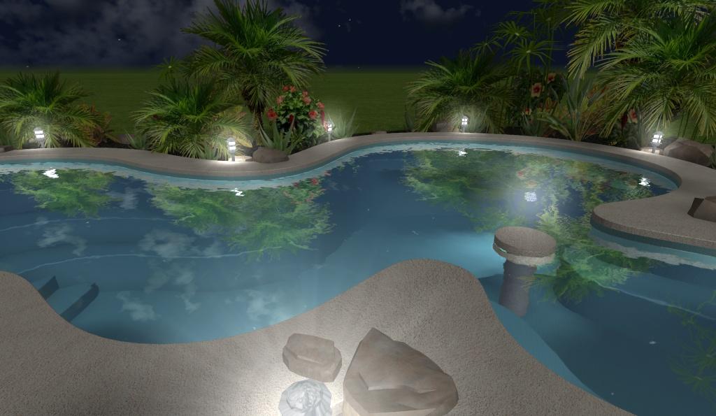 diseño 3D de piscina residencial, con luces de noche 4