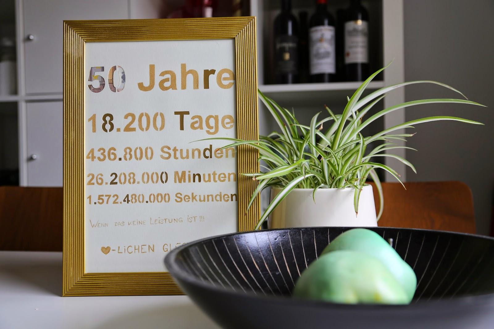Zwischen Tur Und Angel Diy Geldgeschenk 50 Jahre Eine Goldene