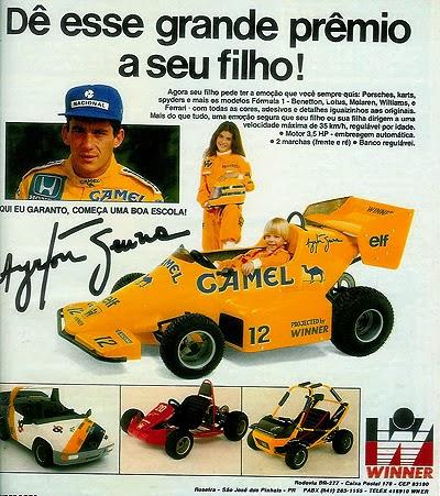 Mini Buggy do Ayrton Senna - brinquedo dos anos 80. Propaganda antiga.