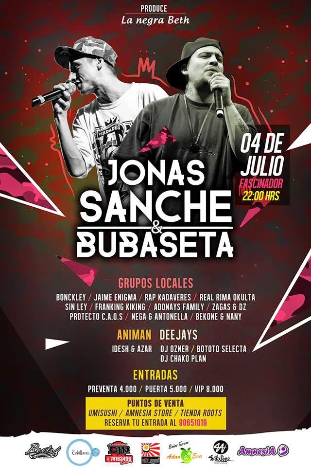 VIERNES 4 DE JULIO-JONAS SANCHE Y BUBASETA  EN ARICA-CHILE