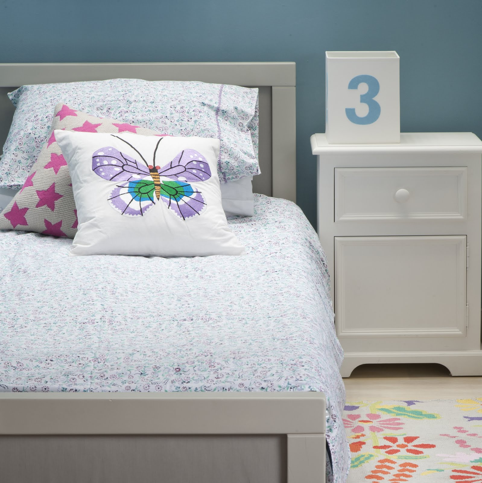 Lulu & Nat | Girls Bedding | Purple Floral Duvet Cover Set