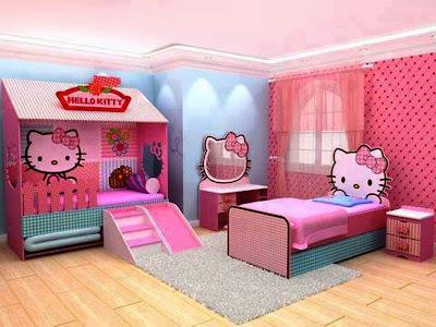 Kamar Tidur Tema Hello Kitty Dua Tempat Tidur