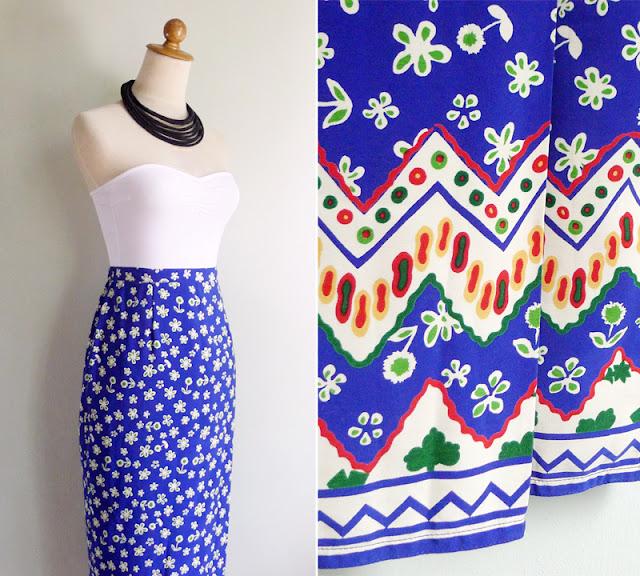 vintage cobalt blue maxi skirt