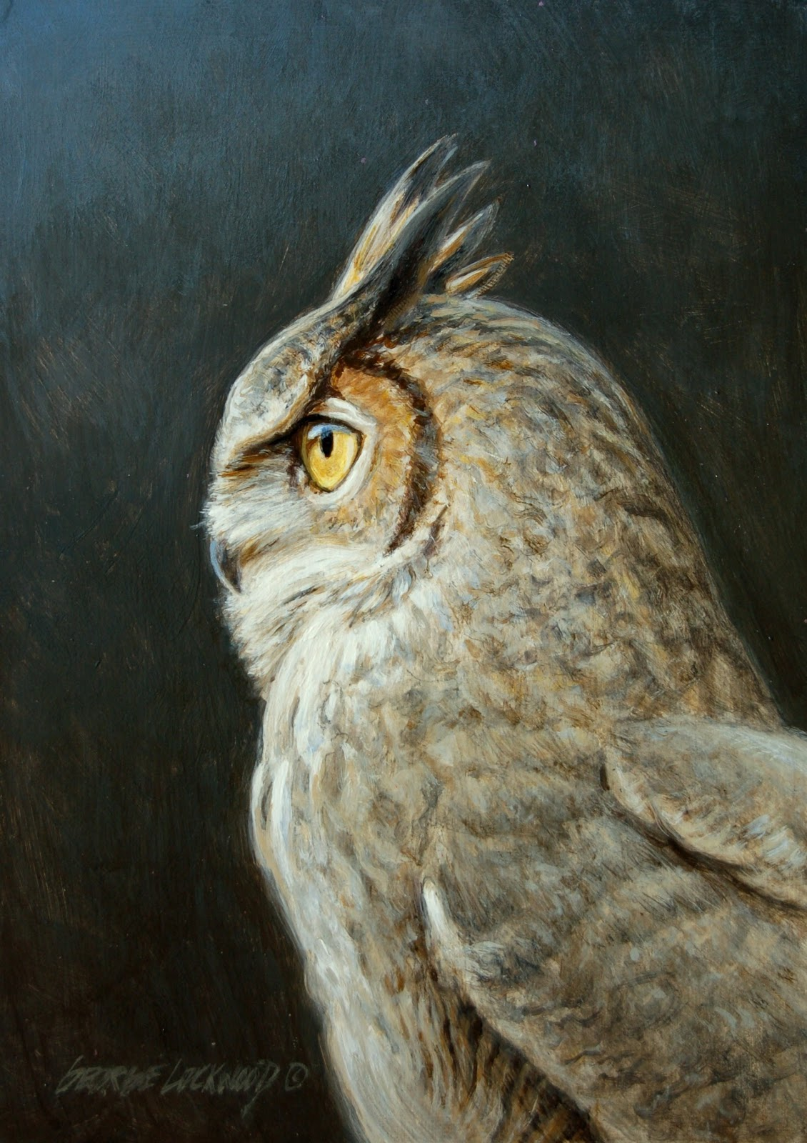 George Lockwood S Daily Paintings Great Horned Owl