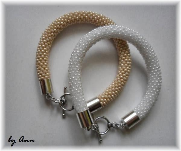 węże koralikowe biel perłowy bransoletka biała perłowa beż beżowa