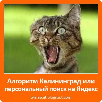 Алгоритм Калининград или персональный поиск на Яндекс