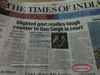 Times of India-Front Page Error